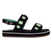 Papete Wedge Camurça Catarina Green Preto