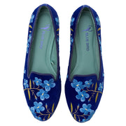 Mocassim Loafer Veludo Blue Flowers Azul