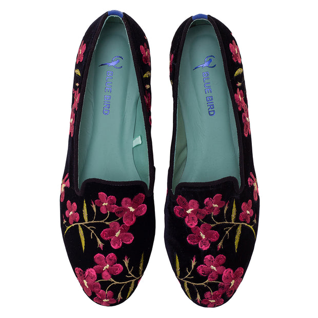 Mocassim Loafer Veludo Wine Flowers Preto