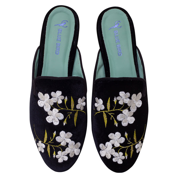 Slip on White Flowers Veludo