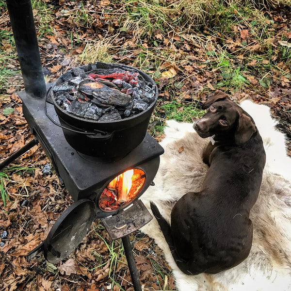 Anevay portable woodburner - the original Frontier Stove. Garden set-up