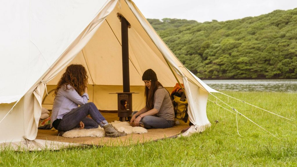 Woodburning stove in a bell tent