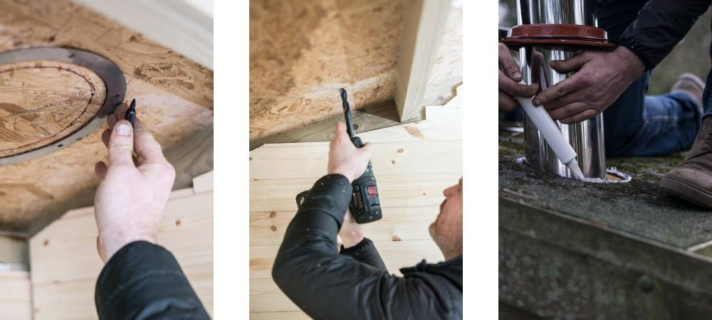 How to install a flue kit in a shed