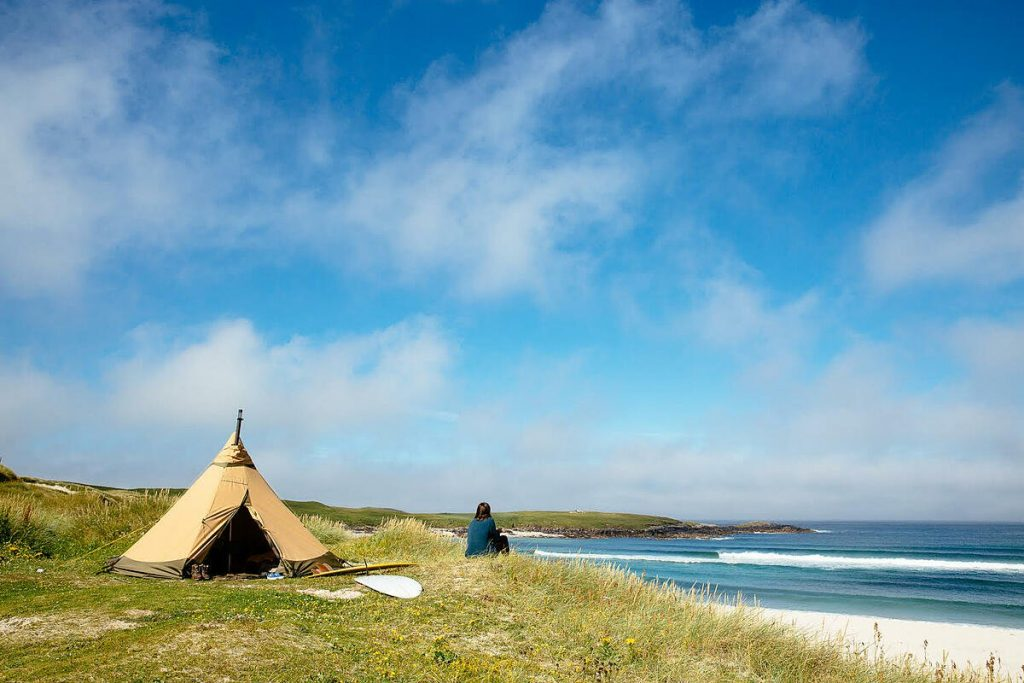 Tipi pitched on a beach