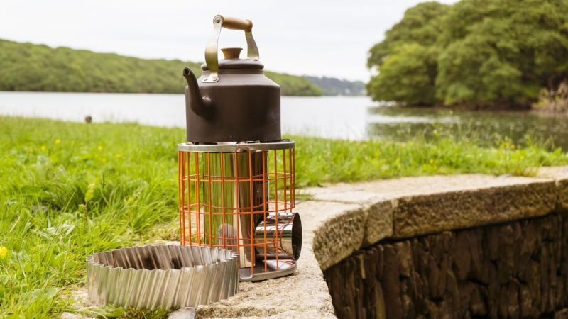 Kettle on top of a Horizon rocket stove