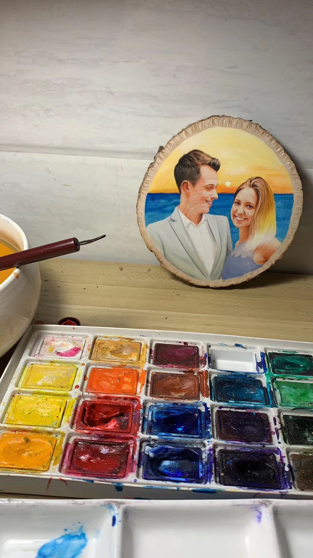 during painting