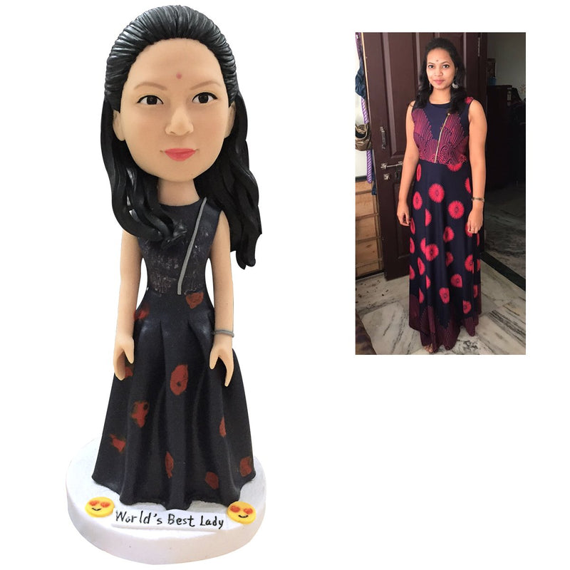 Fully Customizable Custom Bobblehead 1 Person Gift Cake Top Woman