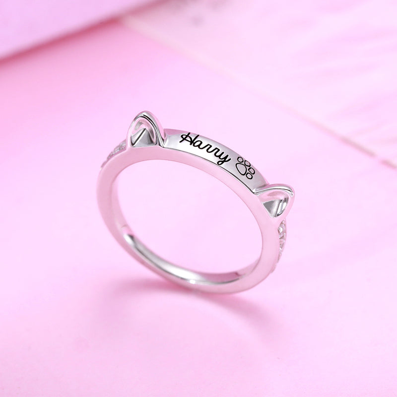 Personalized Cat Ring with Ears - customgiftsmall