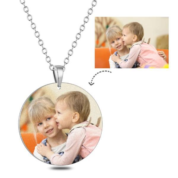 Personalized Circle Color Photo&Text Necklace