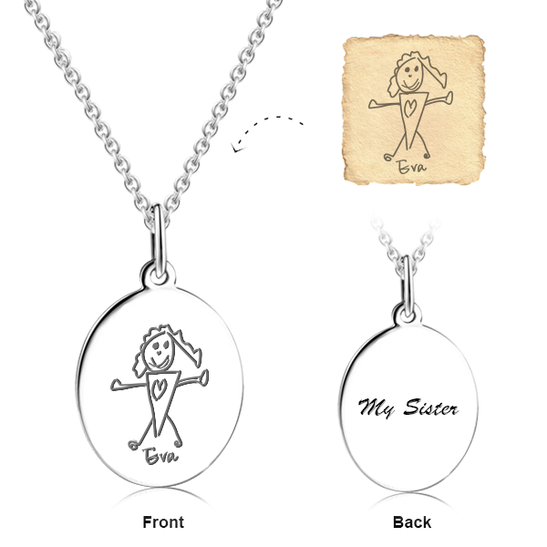 Personalized Sterling Silver Engraved Art Drawing Necklace