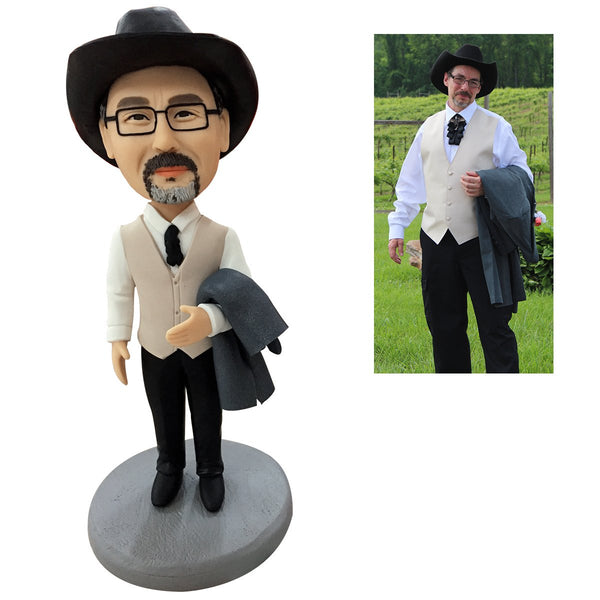 Fully Customizable Custom Bobblehead 1 Person Gift Anniversary Birthday Wedding Cake Topper Man