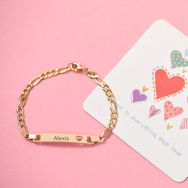 Personalized  Bar Engraved Bracelet with Heart - customgiftsmall
