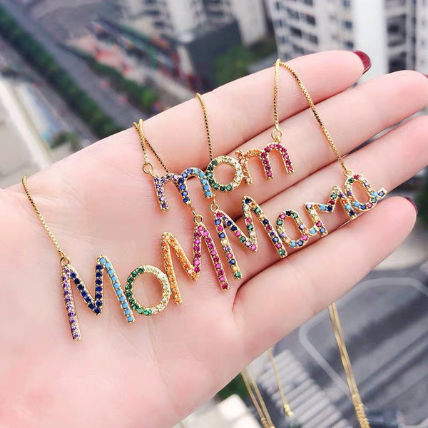 Instagram Hot Sale Rainbow Mom Necklace Diamond-embedded