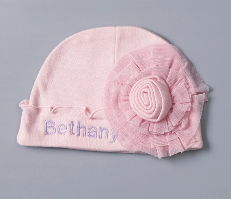 Personalised Pink Baby Hat And Bib Set for Christmas
