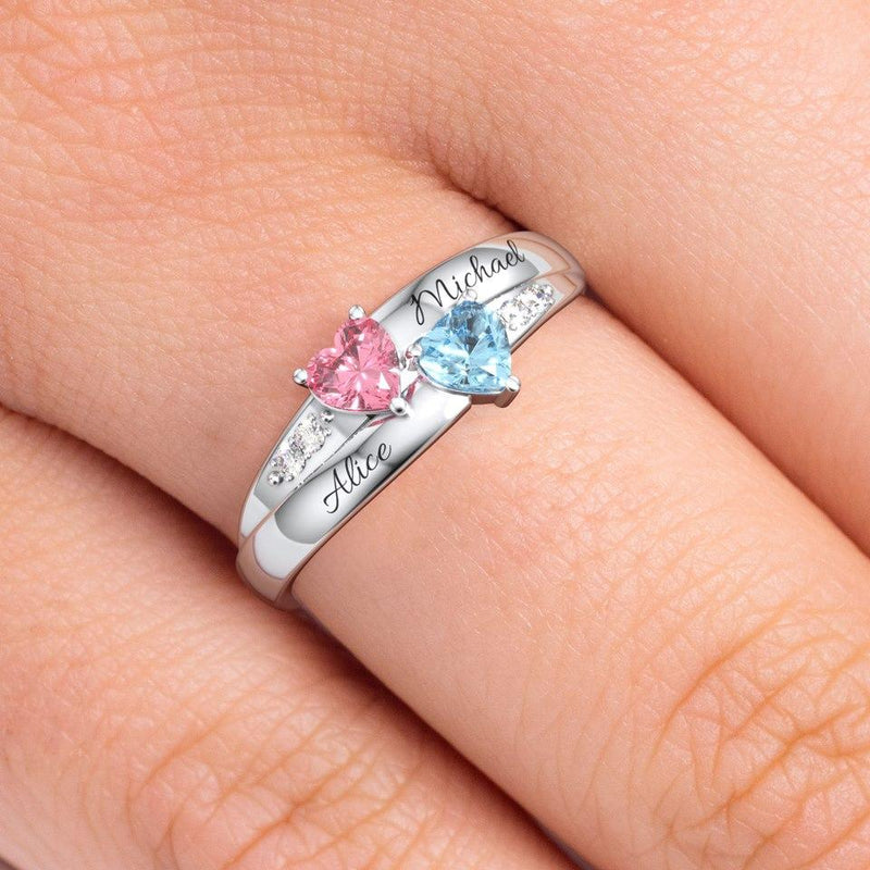 Double Heart Birthstone Promise Ring - customgiftsmall