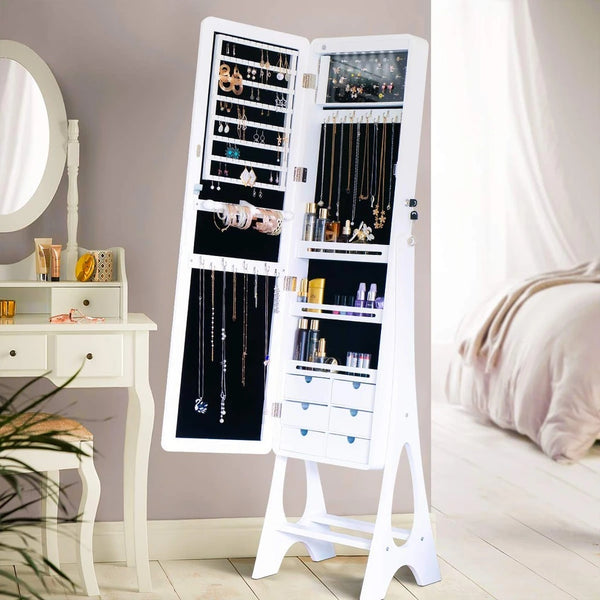 Vertical Jewelry Cabinet with Frameless Full Length Mirror