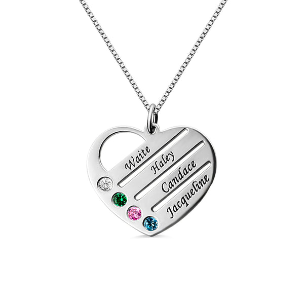 Personalized Mother's Heart Necklace with 4 Birthstones & Names