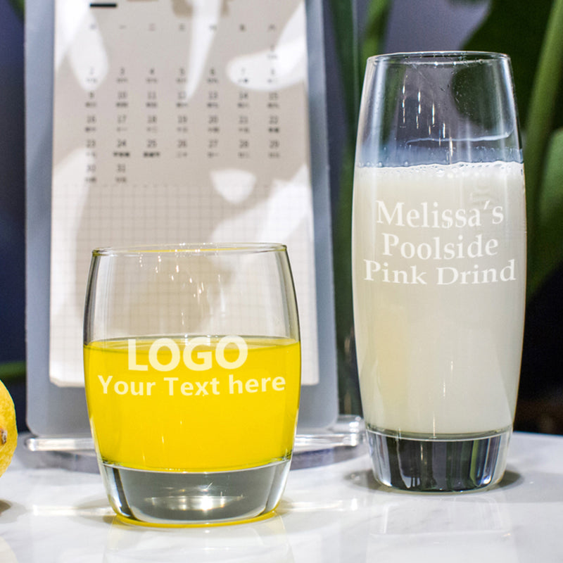 Custom Engraved Glass Milk Cups(Set of 6)