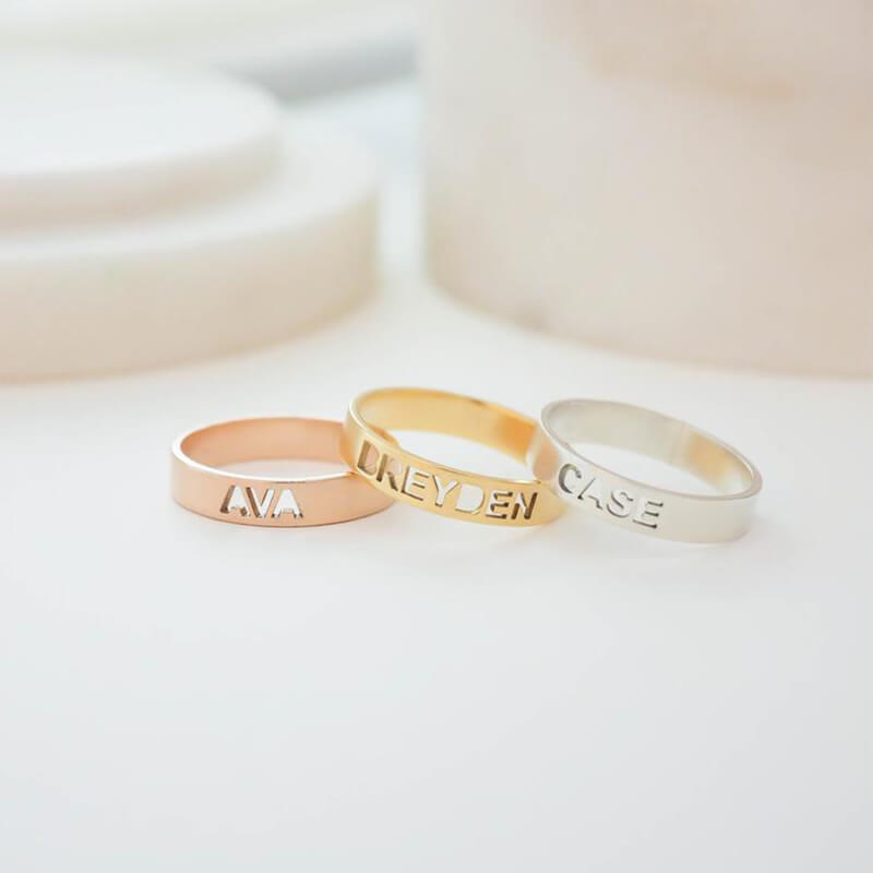 Custom Cut-out Style Name Ring - customgiftsmall