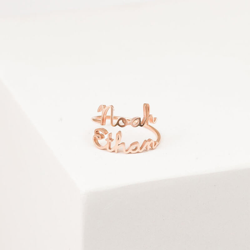 Personalized Adjustable Double Name Ring - customgiftsmall