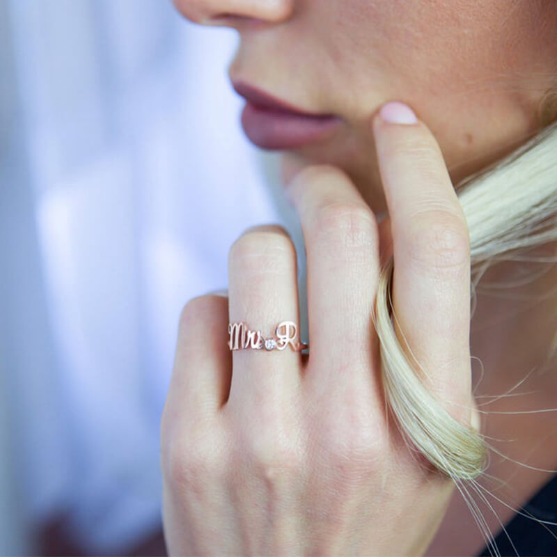 Custom Name Ring With CZ Stone - customgiftsmall
