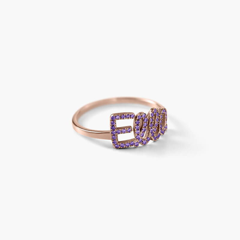 Rose Gold Plated Name Ring With Birthstone - customgiftsmall