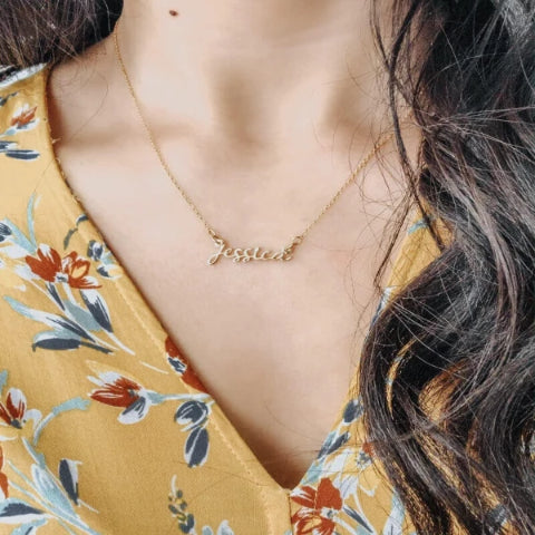 Personalized Name Necklace Personalized Delicate Name Chain Gold Plated - customgiftsmall