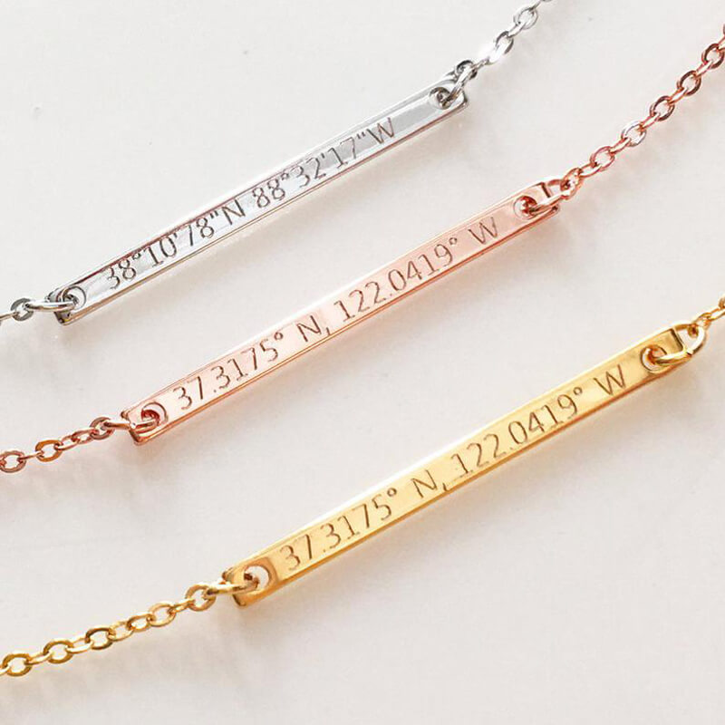 Personalized Coordinates Bar necklace Gold plated Gift For Friends - customgiftsmall