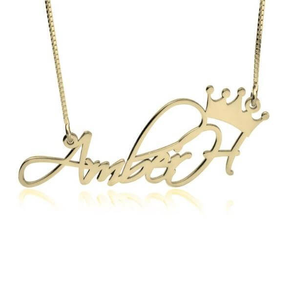 Personalized Princess Crown Name Necklace 24k Gold Plated - customgiftsmall
