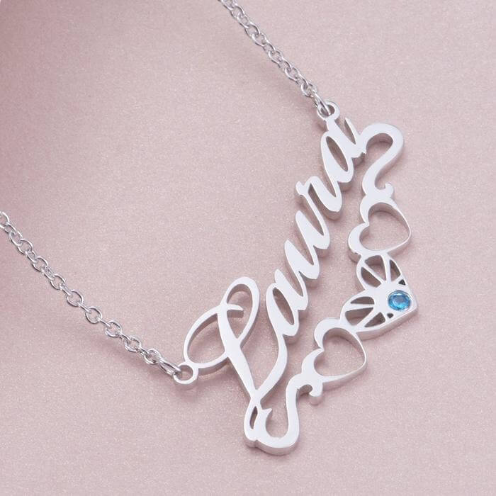 Personalized Three Heart Name Necklace with Birthstone - customgiftsmall