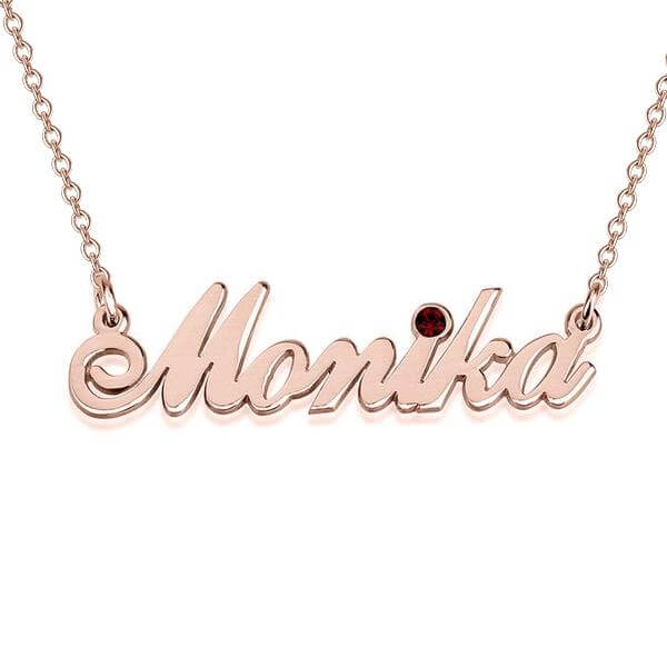 24k Gold Plated Custom Swarovski Classic Name Necklace with Birthstone - customgiftsmall