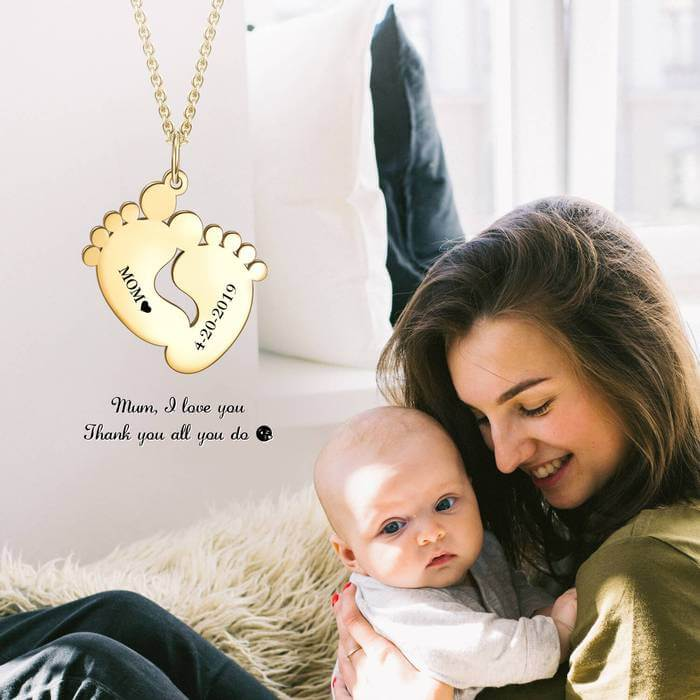 Engraved Custom Baby Feet Necklace - Birthday Hang Tag Memories - customgiftsmall