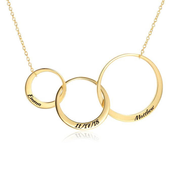 Interlocking Three Circles Eternity Necklace Engravable in 24k Gold Plating - customgiftsmall