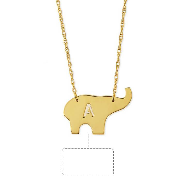 Custom Elephant Initial Necklace in 24k Gold Plating - customgiftsmall