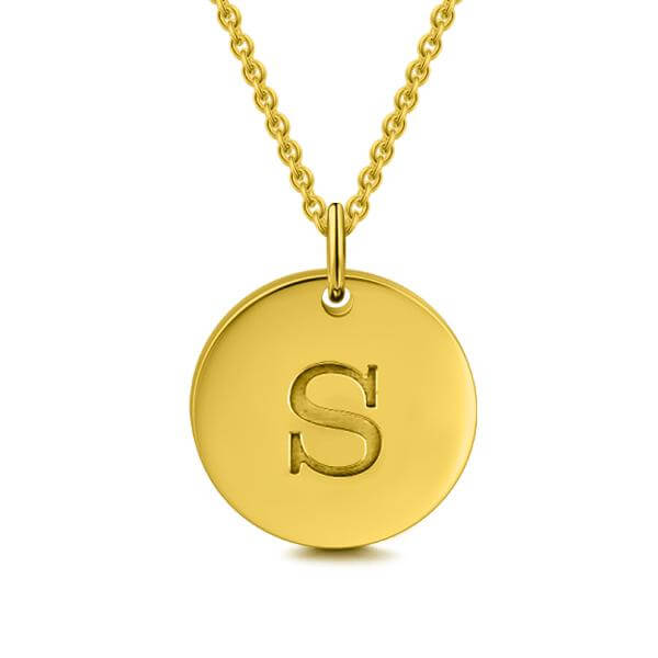 24k Gold Plated Personalized Initial Pendant Necklace - customgiftsmall
