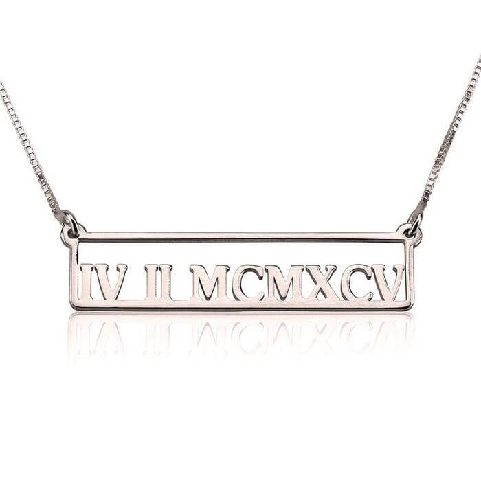 Engraved Roman Numeral Necklace - customgiftsmall