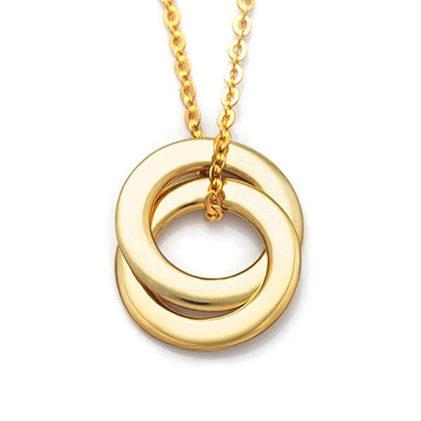 Russian Ring Necklace with 2 Rings - 24k Gold Plated - customgiftsmall