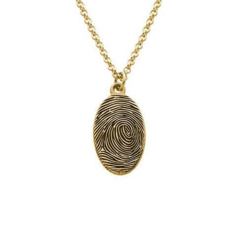 Fingerprint Oval Necklace with 24k Gold Plating - customgiftsmall