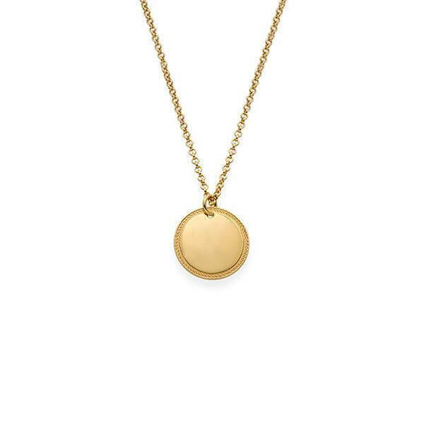 Gold Plated Circle Initial Necklace - customgiftsmall