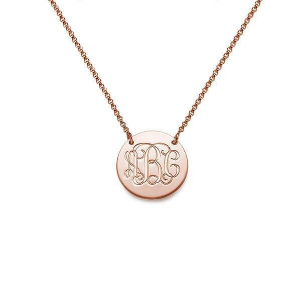 Circle Monogram Initial Necklace in Gold - customgiftsmall