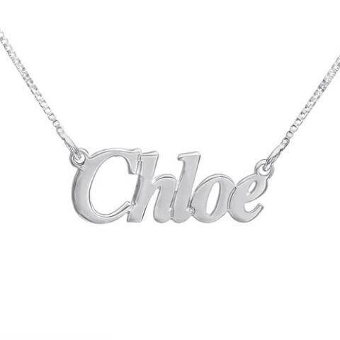 "Personalized ""Chole"" Style Name Necklace 24k Gold Plated - customgiftsmall"