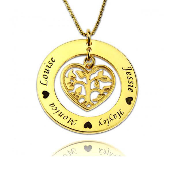 Heart Charm Circle Family Tree Necklace - customgiftsmall