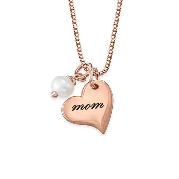Personalized Engraved Heart Necklace with Pearl - customgiftsmall