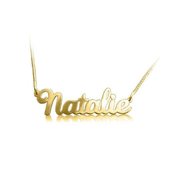 Personalized Solid White Gold Plated Name Necklace - customgiftsmall