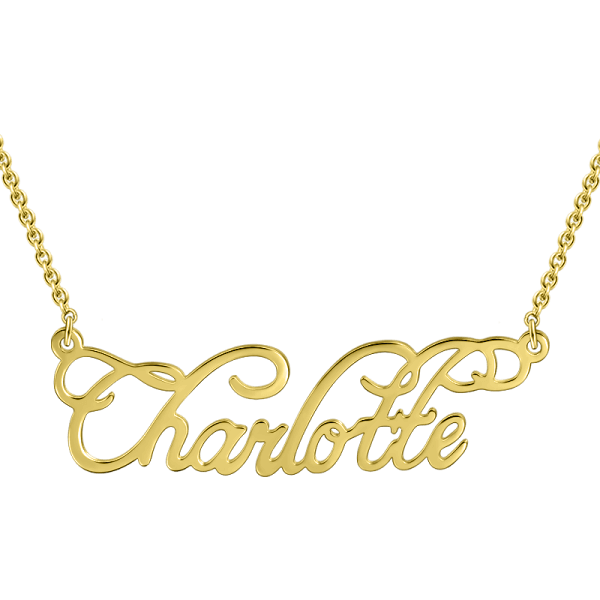 "Personalized ""Charlotte"" Style Name Necklace with Rose Gold Plating - customgiftsmall"