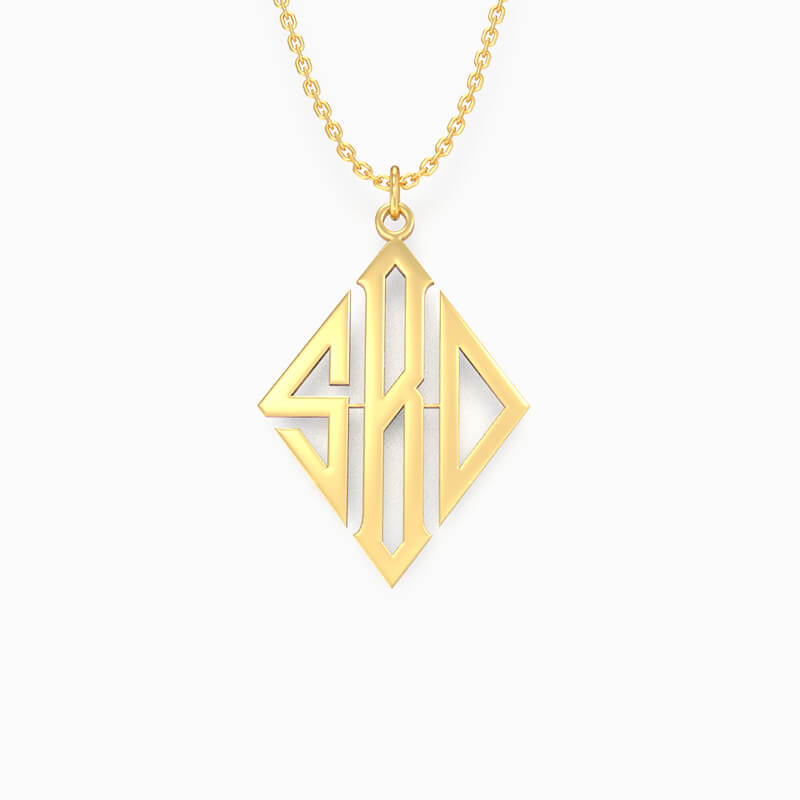 Monogram Three Letters Necklace - customgiftsmall