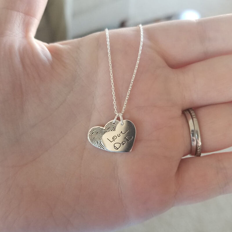 Personalized Double Heart Fingerprint Bar Necklace - customgiftsmall