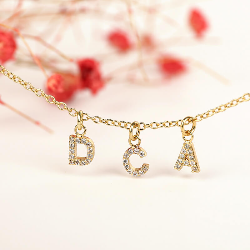 Personalized Crystal Letter Dangle Necklace - customgiftsmall