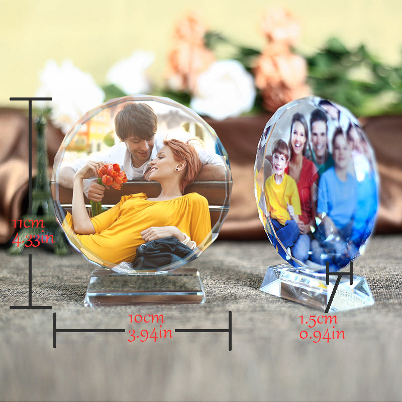 Custom Round Shape Crystal Glass Photo Frame Colorful Print