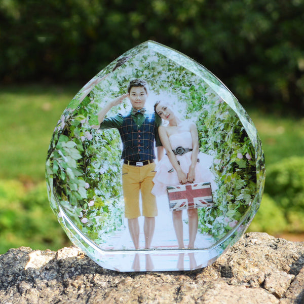 Customized Heart Shaped Laser Engrave Crystal Photo Frame